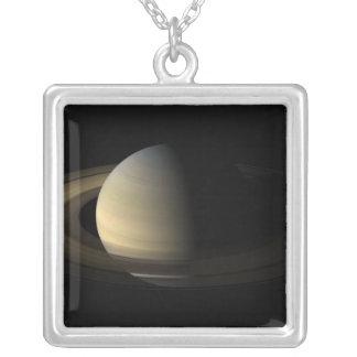 Saturn Equinox Square Pendant Necklace