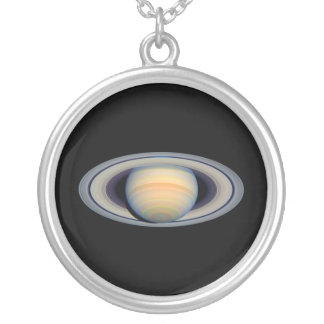 Saturn (Hubble Telescope) Round Pendant Necklace