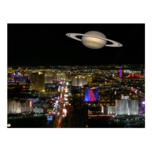 Saturn & Las Vegas Strip Postcards