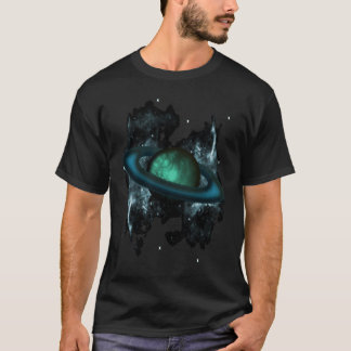 Saturn like ringed planet with Stars and Nebula T-Shirt