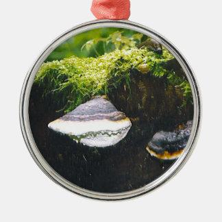 Saturn Mushrooms Round Metal Christmas Ornament