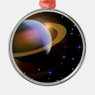 Saturn Round Metal Christmas Ornament