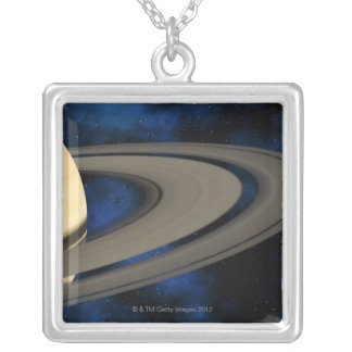Saturn planet 2 silver plated necklace