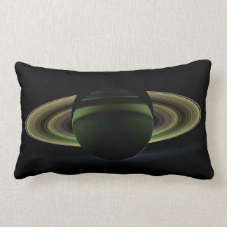 Saturn Planet and Rings by Cassini Spacecraft Lumbar Pillow
