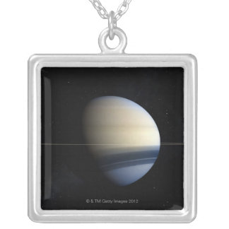 Saturn planet in solar system, close-up 2 silver plated necklace