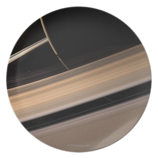 Saturn planet in solar system, close-up 3 melamine plate