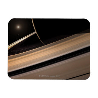 Saturn planet in solar system, close-up 3 rectangular photo magnet