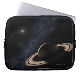 Saturn planet in solar system, close-up computer sleeve