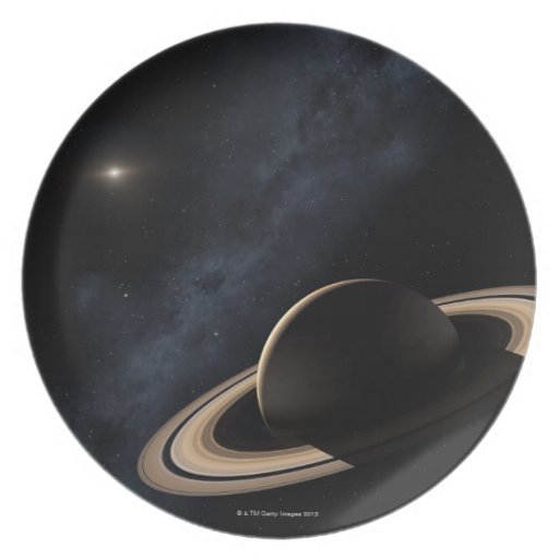 Saturn planet in solar system, close-up party plates
