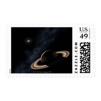 Saturn planet in solar system, close-up stamp