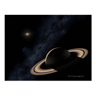Saturn planet in solar system, close-up postcard