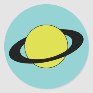 Saturn planet with ring icon classic round sticker
