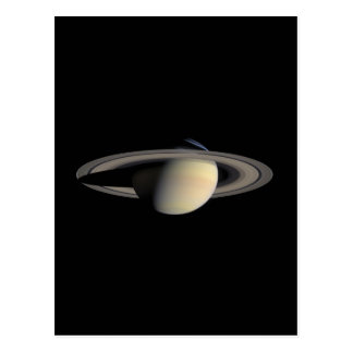 Saturn planet with rings around it postcard