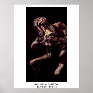 Saturn que devora a su hijo de Francisco De Goya Póster