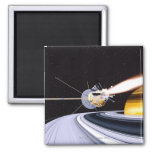 Saturn que está en órbita por satélite imán para frigorifico
