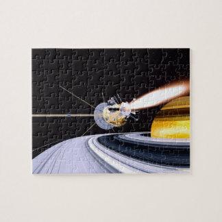 Saturn que está en órbita por satélite rompecabezas