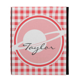 Saturn Red and White Gingham iPad Folio Cover