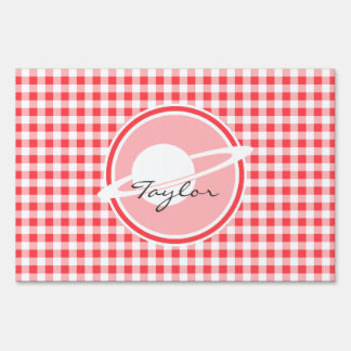 Saturn; Red and White Gingham Yard Sign
