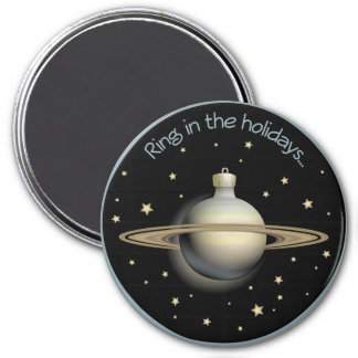 Saturn - Ring in the holidays 3 Inch Round Magnet