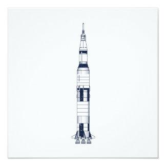 """Saturn Rocket Invitación 5.25"""" X 5.25"""""""