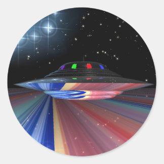 Saturn saucer round sticker