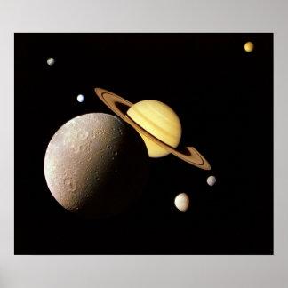 Saturn System Montage Poster Print