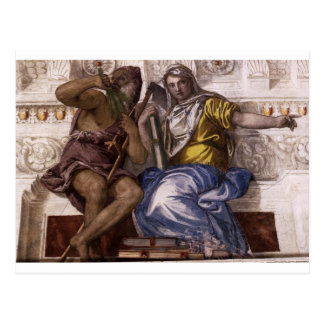 Saturn (Time) and Historia by Paolo Veronese Postcard