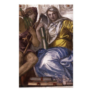Saturn (Time) and Historia by Paolo Veronese Stationery