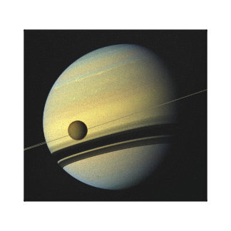 Saturn & Titan Cassini Space Photo Canvas Print