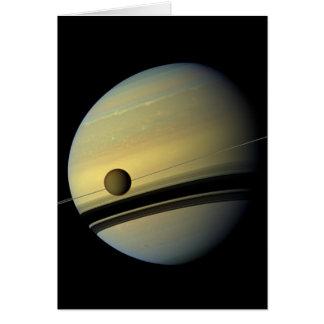 Saturn & Titan Cassini Space Photo Card