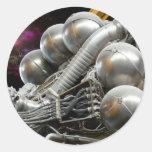 Saturn V Rocket Engine Round Stickers
