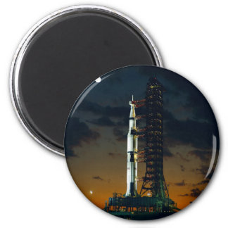 Saturn V rocket on the launch pad Refrigerator Magnets