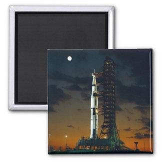 Saturn V rocket on the launch pad Fridge Magnets