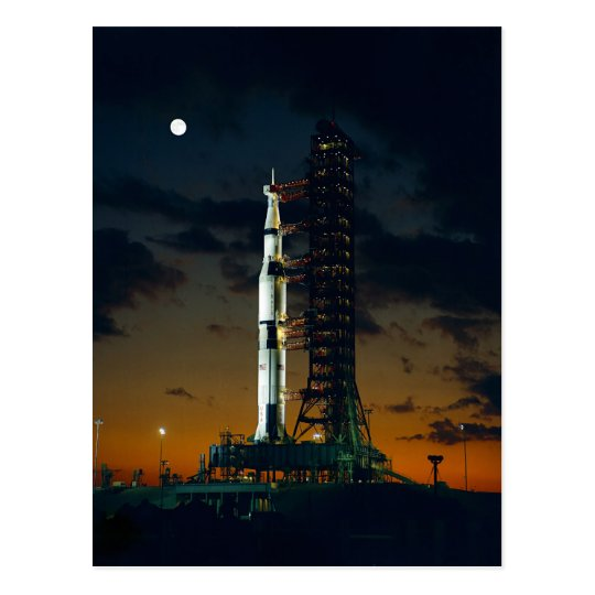 Saturn V rocket on the launch pad Postcard