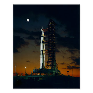 Saturn V Rocket on the launch pad Poster