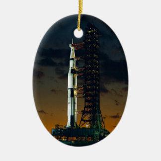 Saturn V Space Rocket Launch Ceramic Ornament
