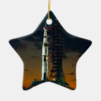 Saturn V Space Rocket Launch Ceramic Ornament