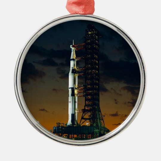 Saturn V Space Rocket Launch Metal Ornament