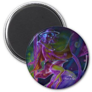 Saturn ventoso psicodélico imán redondo 5 cm