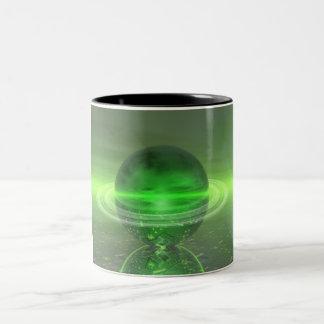 Saturn verde electrónico taza de dos tonos