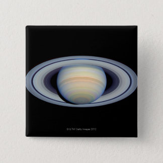Saturn with rings at widest angle to Earth Pinback Button