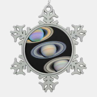 Saturn With Rings Tilted Toward Earth Snowflake Pewter Christmas Ornament