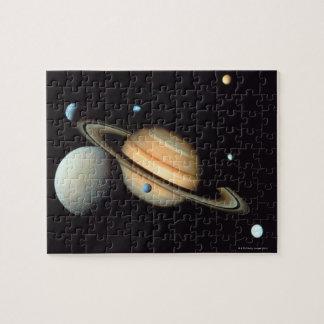 Saturn y satélites rompecabeza