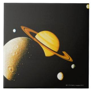 Saturn y sus lunas azulejo cuadrado grande