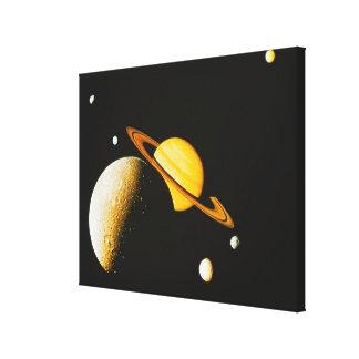 Saturn y sus lunas impresión en lienzo
