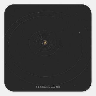 Saturn y sus lunas pegatina cuadrada