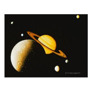 Saturn y sus lunas postal