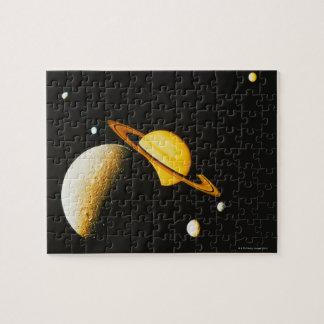 Saturn y sus lunas rompecabeza con fotos