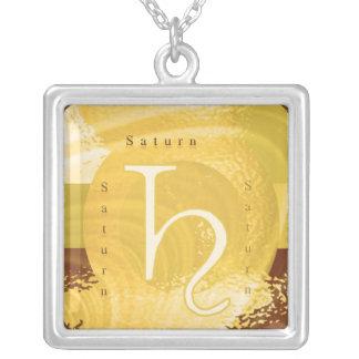 Saturn Zodiac Symbol Square Pendant Necklace