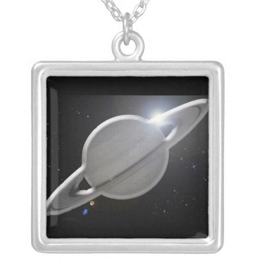 Saturno de plata colgante cuadrado